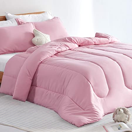SLEEP ZONE Kid's Comforter and Pillow Sham Set Easy-Wash Ultra Soft Brushed Microfiber Fade Resistant 2 Piece, Ballet Pink, Twin