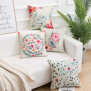 famibay Set of 4 Cotton Linen Flowers Throw Pillow Covers Pink Floral & Bird Pillow Case Cushion Cover for Sofa Couch 18 x 18 Inch Spring Home Decoration Pink