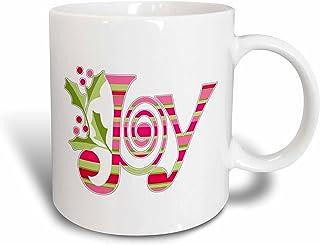 "3dRose Mug_60784_1\""Pink And Green Christmas Joy\"" Ceramic Mug, 11 Oz, Multicolor"