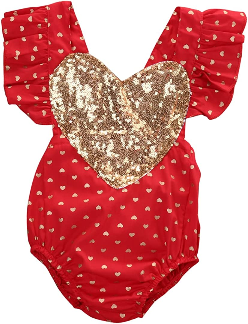 Newborn Baby Louisville-Jefferson County Mall Girl Clothes Red Heart Print Jumpsuit Ranking TOP15 Rompe Sequins