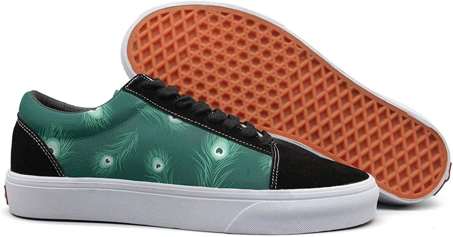 Wuixkas Green Peacock Feather Monochrome Pattern Womens Canvas Upper Sneakers Loafer Canvas shoes