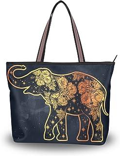 ALAZA Tote Umhängetasche Elefant mit Blumen-Stern-Handtasche Groß