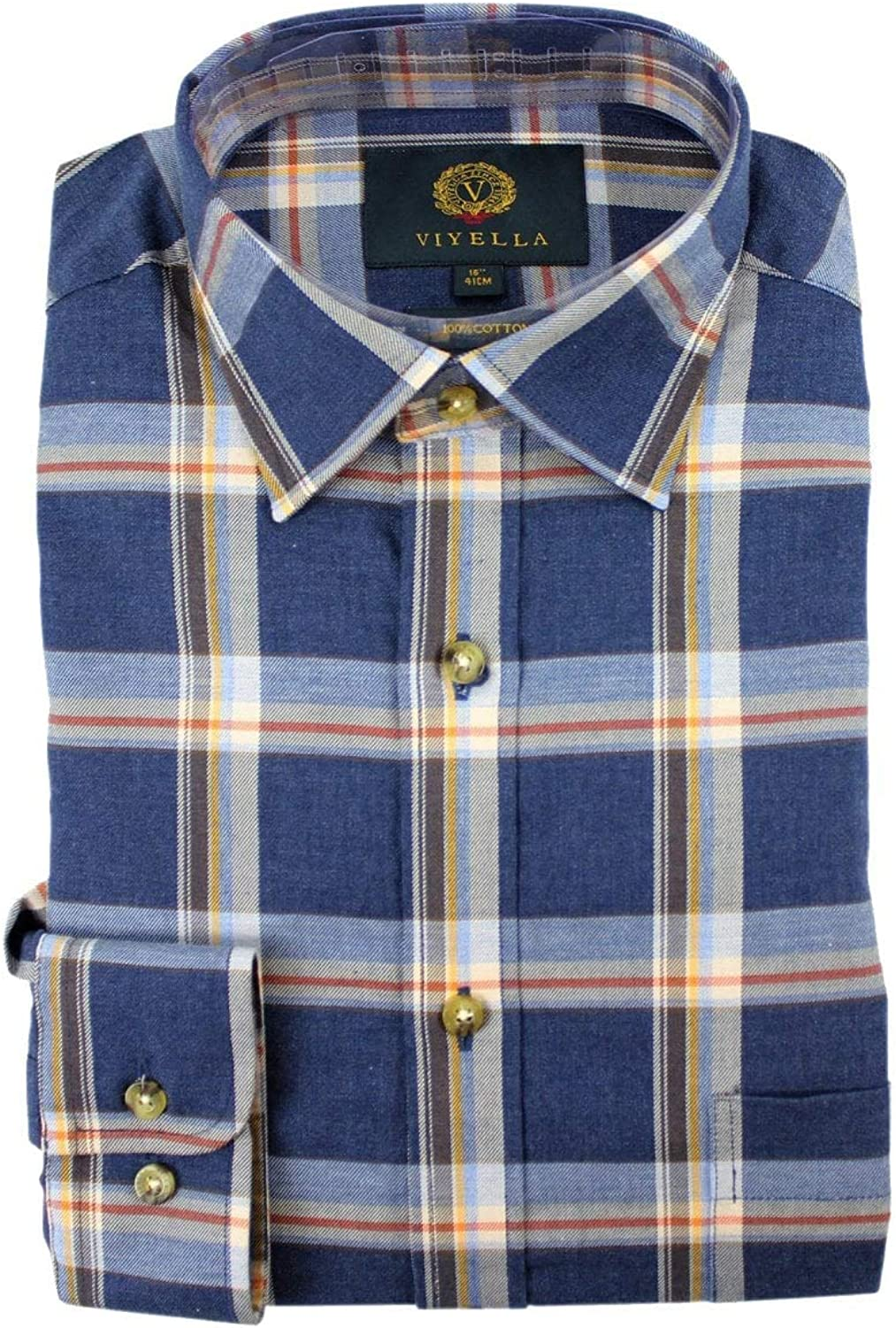 Viyella Plaid Cotton Long Sleeve Shirt Navy Marl 15 38cm Navy Marl Amazon Co Uk Clothing