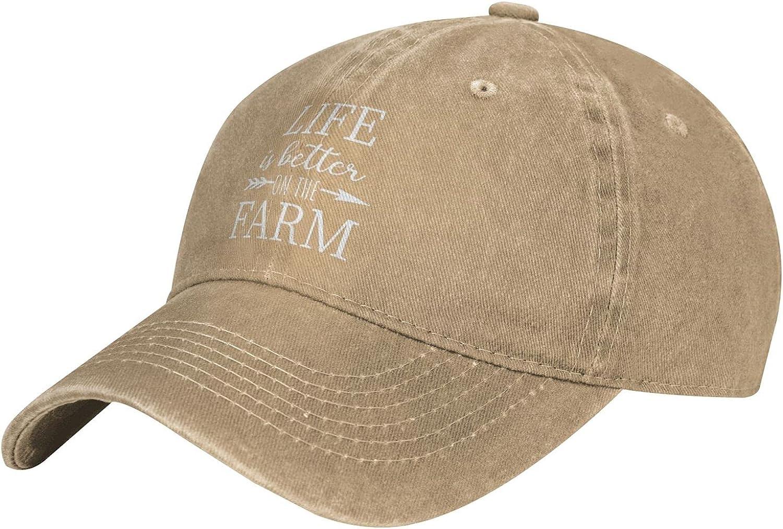 Life is Better On The Farm Baseball Caps Adjustable Unisex Denim Hats Outdoor Cowboy Cap