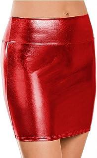 فساتين FEESHOW القصيرة من الجلد PVC المعدني للنساء قصيرة الورك ضيق تنانير قصيرة