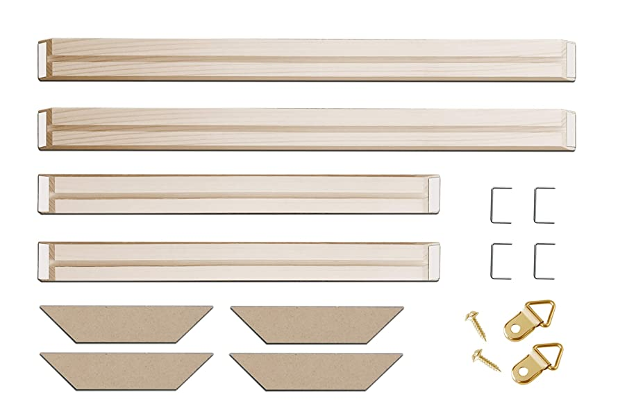 DIY Solid Wood Canvas Frame Kit 20 x40 Inch for Oil Painting & Wall Art - Customized Wooden Art Frames for Paintings & Canvases - Easy to Build Canvas Stretching System - Framed Picture Accessories