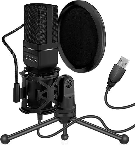 IUKUS Micrófono USB, micrófono de PC, condensador USB, micrófono de grabación, micrófono para juegos con soporte y fi...