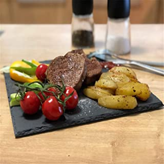 Natural Slate Dishes Solid Square Stone Sushi Steak Barbecue Plate Cheese Pizza Flat Fruit Food Tea Tray 40cmx25cm