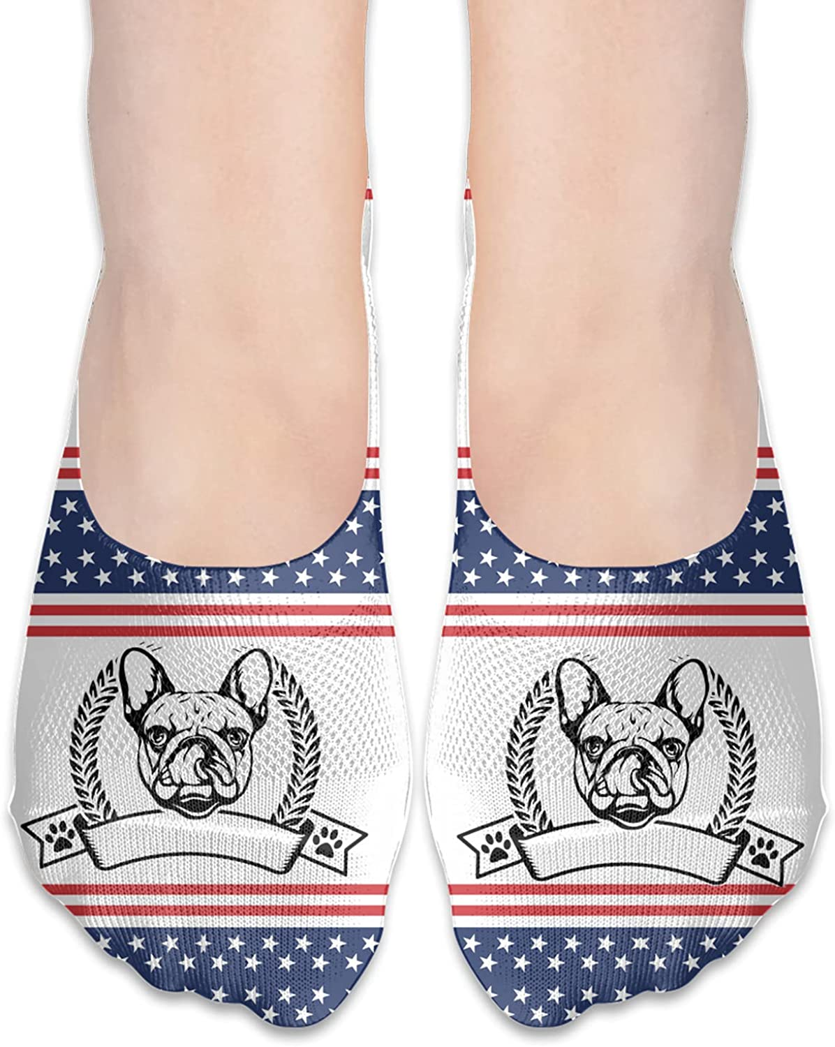 French Bulldog Unisex Adult Breathable Liner Socks Non Slip No Show Ankle Socks Low Cut Invisible Socks