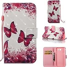 Galaxy J7 V Case Case Wallet/Samsung Galaxy J7 Prime Case/J7 Sky Pro Case/J7 2017/J7 Perx/Galaxy Halo Case,Voanice Luxury PU Leather Card Slots Kickstand Flip Cover Protective&Stylus-Pink butterfly