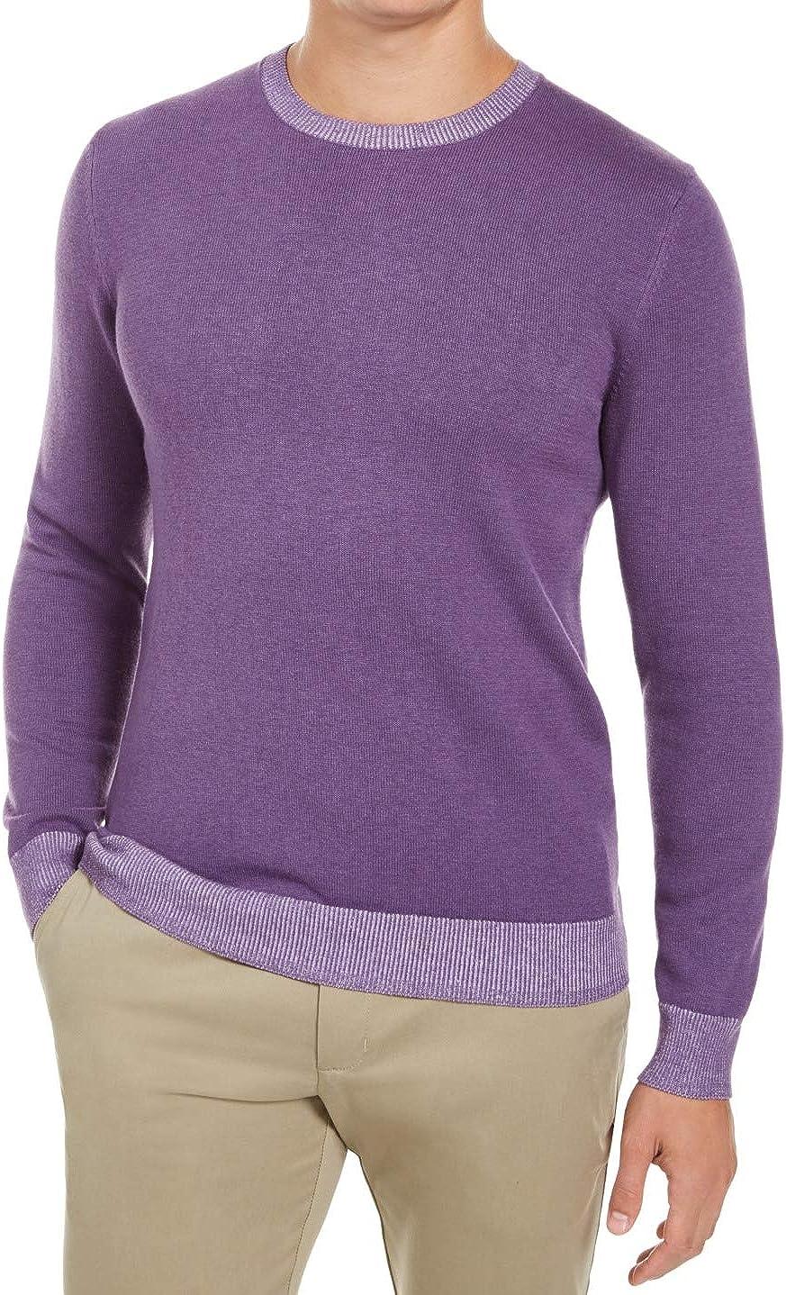 Tasso Elba Mens Sweater Crewneck Pullover Long-Sleeve Purple 2XL