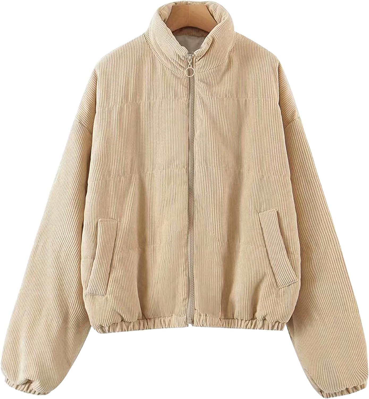Dqbeng Women's Stylish Winter Full Zip Padded Corduroy Coat Jackets