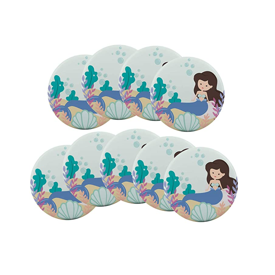 Mermaid 9-Pack Pin Back Button Birthday Party Favors Supplies Badge 2.25-inch Round Boy Girl
