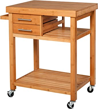 HOMCOM Bamboo Rolling Kitchen Island Trolley Utility Cart on Wheels, 2 Storage Drawers and Adjustable Shelving with Towel Rac