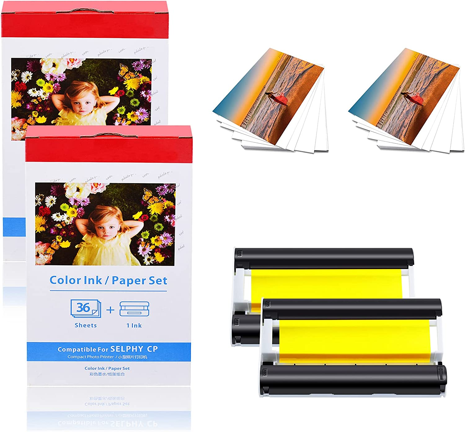 KCMYTONER Special price for a limited time Popular product 2 Pack Compatible for Canon One Ink Color KP36 KP-36IN
