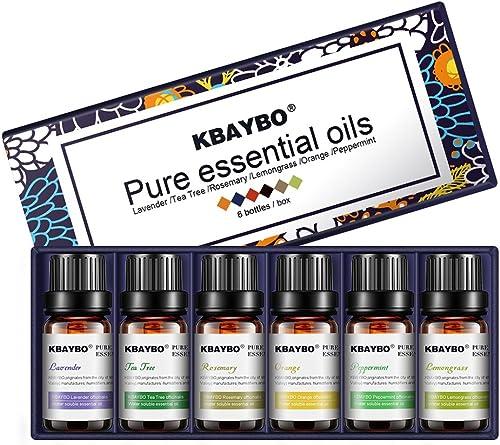 K KBAYBO Essential Oil for Diffuser, Aromatherapy Oil Set, 6 Kinds Fragrance of Lavender, Tea Tree, Rosemary, Lemongr...