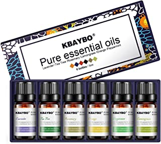 K KBAYBO Essential Oil for Diffuser, Aromatherapy Oil Set, 6 Kinds Fragrance of Lavender, Tea Tree, Rosemary, Lemongrass, ...