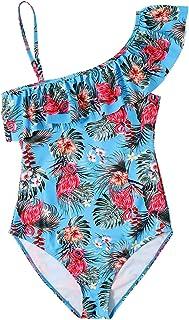 ITUOIDOU Girls One Piece Swimsuit Pattern Bathing Suit Cute Ruffle Swimwear 5-16Years