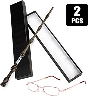 Joy Day Elder Wand Magic Wizard Wand for Dumbledore with Glasses for Wizard School Boys Girls Fancy Dress Dumbledore's Costume Accessories for Halloween Birthday Party