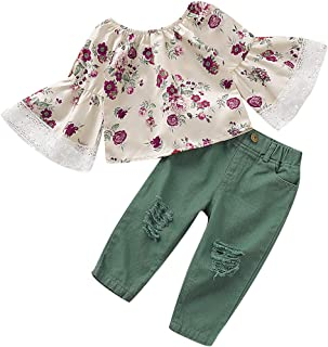 No non-never Toddler Baby Girl Fashion Clothes Off Shoulder Ruffle Sleeve Lace Shirt Top Ripped Jeans Pearl Outfits Set