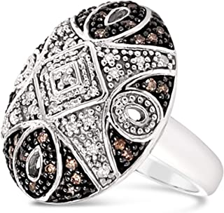 .925 Sterling Silver Chocolate Brown and White Diamond Designer Dome Cocktail Ring For Women 1/2 Carat
