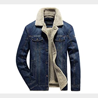 LDLXDR Men's Jackets-Winter plus velvet thick men's denim jacket