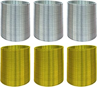 Kicko Metal Coil Spring - Set of 6-2 Inch Spiral Walking Springs in Silver and Gold Color for Class Rewards, Playtime Acti...