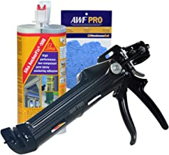 Epoxy Adhesive Applicator, 22 oz. Dual Cartridge Capacity, 25:1 Thrust, AWF Pro with 1 Cartridge, Sika AnchorFix 500: 20 oz Two Component Epoxy, Concrete Anchoring System, Nitrile Gloves
