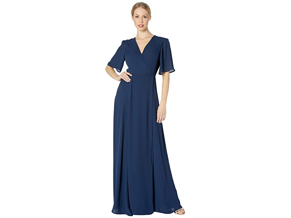 WAYF The Aurelia Short Sleeve Wrap Gown (Navy) Women