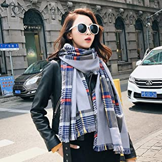 HZWLadies Scarf, Women Fashion Scarves Long Shawl Fall Winter Soft Chunky Lattice Neckerchief Pure Natural to Any Outfit Length190cm Width50cm(A Variety of Styles),B