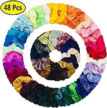 48 Pcs Velvet Hair Scrunchies for Girls Elastics Hair Ties Hair Band for Women