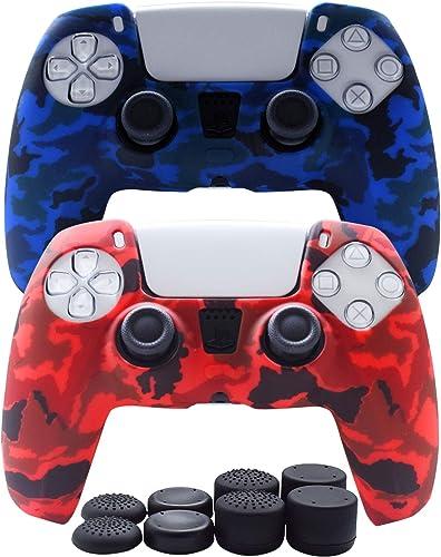 Hikfly Coque de protection en silicone pour manette PS5 DualSense - 2 x Skin avec 8 x Capuchons pour pouce (bleu, rouge)