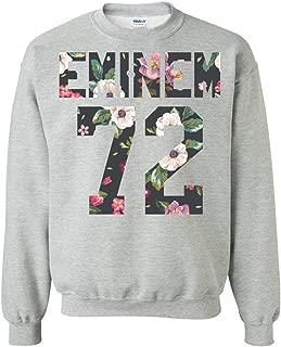 Exclusive Eminem Sweatshirt, 1972 Birthday Year, Flower Art 72 Crewneck Pullover, World Tour Gift, Unisex, Men, Women