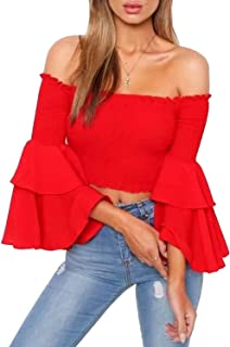 Women's Off The Shoulder Tops Long Flared Sleeve Elastic Crop Tops Blouse Shirt