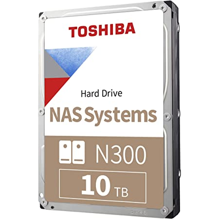Toshiba N300 10TB NAS 3.5-Inch Internal Hard Drive - CMR SATA 6 Gb/s 7200 RPM 256 MB Cache - HDWG11AXZSTA