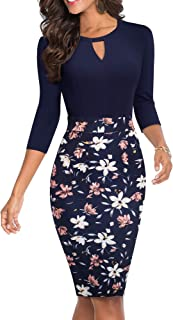 HOMEYEE Womens Cut Out Floral Patchwork Work Business Sheath Dress B556