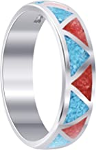 Gem Avenue 925 Sterling Silver Southwestern Style Turquoise with Coral Gemstone Band Womens Ring