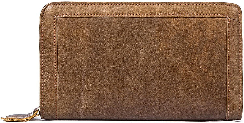 Chengzuoqing Herren Ledergeldbörse Männer Leder Brieftasche Männer Brieftasche Männer Aktentasche Umschläge Handgelenk Taschen Business Casual Clutch Bags Männer (Farbe   braun) B07MRBT4C6