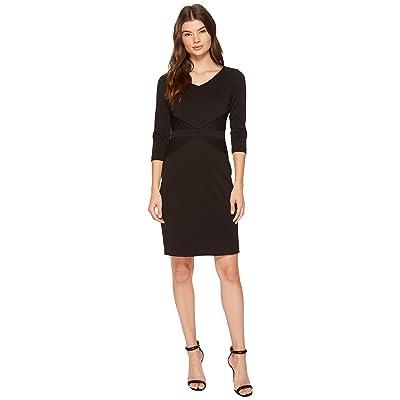 Ellen Tracy Ponte Career Dress with Sleeves (Black) Women
