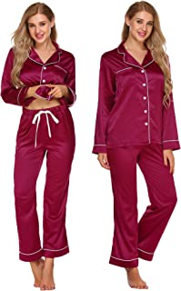 Women's Button Down Pajama Set Long Sleeve Loungewear with with Printed Patterns S-XXL