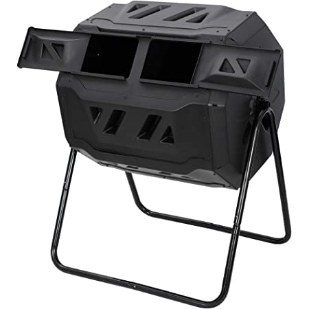 F2C Compost Bin Outdoor Dual Chamber Tumbling Composter 43 Gallon BPA Free Large Tumbler Composters Tumbling or Rotating w/ Sliding Doors & Solid Steel Frame Garden Yard Black