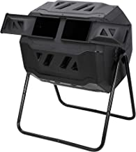F2C 43 Gallon Dual Chamber Large Composting Tumbler Outdoor Garden Yard Compost Bin w/Sliding Door & Solid Steel Frame, Bl...