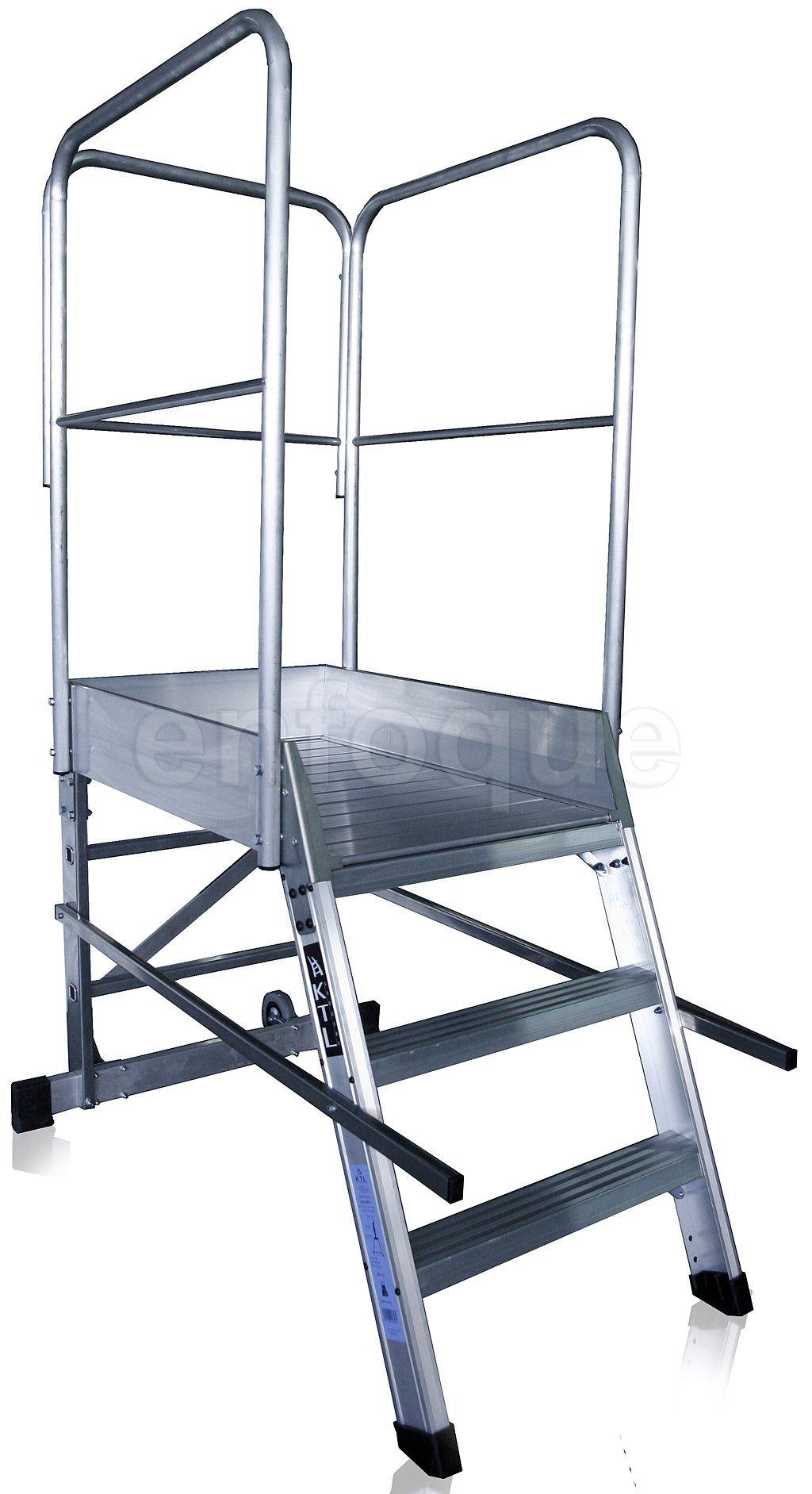 Escalera profesional de aluminio un acceso con plataforma de trabajo 3 peldaños 60x90 serie store 68º almacén: Amazon.es: Hogar