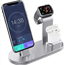 OLEBR Charging Stand Aluminum Alloy Charging Docks Suitable for iWatch Series 4/3/2/1/ AirPods/iPhone Xs/iPhone Xs Max/iPhone XR/X/8/8Plus/7/7 Plus /6S /6S Plus/iPad-Silver