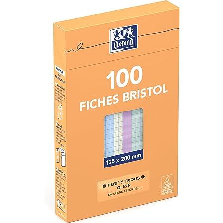 Oxford Etui de 100 Fiches Bristol Perforées 12,5 x 20cm Petits Carreaux 5x5 mm Couleurs Assorties