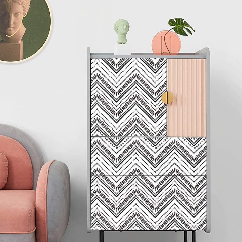 ConCus-T Self Adhesive Stripes Wallpaper Bohemian Vinyl Kitchen Contact Paper Peel and Stick Wall Furniture Sticker Chevron Arrow Geometric Pattern Black and White 45/×300CM