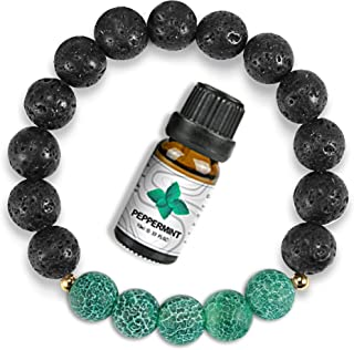 Lava Rock Bracelets with Essential Oil, Yoga Anxiety Chakra Bracelets, Handmade Beaded Bracelets for Women/Men/Teen Girls ...