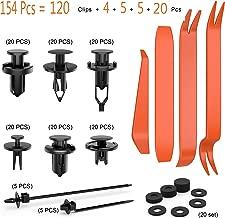 KCRTEK 120pcs 6.3mm 8mm 9mm 10mm Nylon Bumper Push Fasteners,Bumper Clips with 1PC Fastener Remover