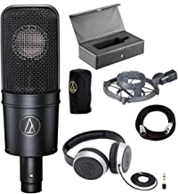 Audio-Technica AT4040 Cardioid Condenser Mic with Shock Mount + Samson SR550 Over-Ear Studio Headphones + Mic Cable, 20 ft. XLR Bulk