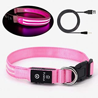 Led Dog Collar - 100% Waterproof Light Up Safety Pet Collar - Rechargeable Flashing Light Collar with Double Fiber, Basic Dog Collars
